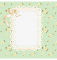 lace frame with ribbons on a floral background vector image