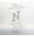 letter N and hand of lines vector image