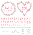 monogram in floral frames set vector image