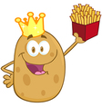 Potato With Crown Holding Up A French Fries vector image