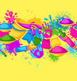 happy holi colorful seamless border vector image