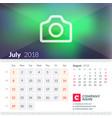 Calendar for july 2018 week starts on sunday 2 vector image
