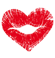 Lip print heart Vector Image