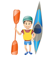 cartoon boy with a canoe vector image vector image
