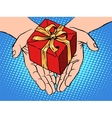 Male hands heart shape gift box vector image