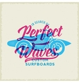 Perfect Waves Bike with Surfboard Abstract Retro vector image