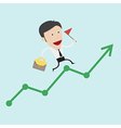 Business man run over the positive graph vector image