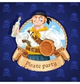 Cute boatswain with a barrel Banner for Pirate vector image