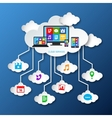 Mobile services cloud paper vector image