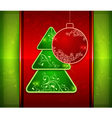 Balls and fir trees on red and green vector image vector image