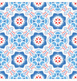 blue red pattern flower ornament vector image