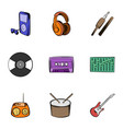 listening music icons set cartoon style vector image