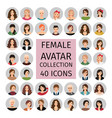 female avatar collection icons set vector image vector image
