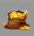 cartoon big old bag with gold coins isolated on