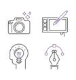 Photography icons camera design studio symbol lens vector image