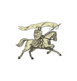 Knight Riding Horse Shield Lance Flag Drawing vector image