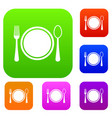 place setting with platespoon and fork set vector image