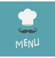 Chef hat and big mustache Menu card Curl vector image