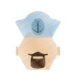 drawing face sailor man bearded cap nautical vector image