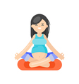 flat style of pregnant woman doing yoga vector image
