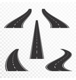 roads with markings straight and curved asphalt vector image