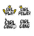 set of girl femenist slogans with lettering vector image