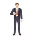 Businessman shows thumb up vector image vector image
