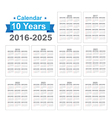 2016 2025 Calendar Black text on a white vector image