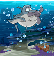 cartoon fish shark with a propeller swimming vector image