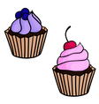 Set flat cartoon isolated cupcakes vector image