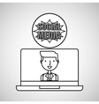 character draw technology social media vector image