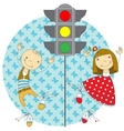 children and traffic lights vector image