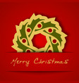 Christmas gold garland applique on red background vector image