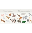 Cute african and farm animals set vector image