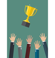 Hands throwing a trophy cup in the air vector image