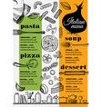 Menu italian restaurant food template placemat vector image