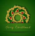 gold garland applique on green background vector image