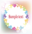 White frame with hearts on blurred background vector image