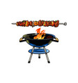 round barbecue bbq charcoal grill burning flame vector image