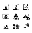Set of 3D Printing icons - printers pc with 3d vector image