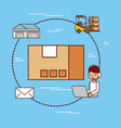 cardboard box delivery logistic mail warehouse and vector image