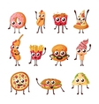 Cartoon logo fast food characters icons vector image