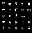 classroom icons with reflect on black background vector image