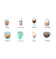 different kinds of coffee icons in set collection vector image