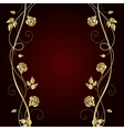 Gold flowers with shadow on dark background vector image