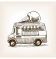 Ice cream van skecth style hand drawn vector image