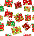 Seamless background with Christmas gift boxes vector image vector image