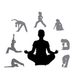 silhouettes of yoga 3 vector image vector image