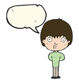cartoon whistling boy with speech bubble vector image