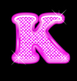 K letter pink bling girly vector image